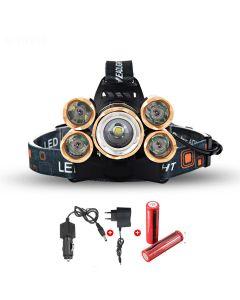 LED frontlys 5000 lumen High Power LED frontlys Boruit 5xCREE XM-L 4 hodelykt-fullstendig modussett
