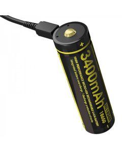 NITECORE NL1834R 3.6V høy ytelse micro-USB 18650 oppladbart batteri