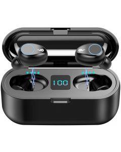 F9 TWS trådløs Bluetooth 5.0 ørepropper, IPX7 vanntettberøring hodetelefoner i øret sport kjører øretelefon