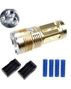 EternalFire kongen 3T6 3 * Cree XM-L T6 LED lommelykt 3000 lumen 3 moduser LED lommelykt Glod-komplett sett