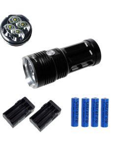 EternalFire kongen 4T6 4 * Cree XM-L T6 LED lommelykt 4000 lumen 3 moduser LED lommelykt Black-komplett sett