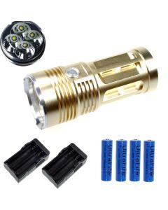 EternalFire kongen 4T6 4 * Cree XM-L T6 LED lommelykt 4000 lumen 3 moduser LED lommelykt Glod-komplett sett