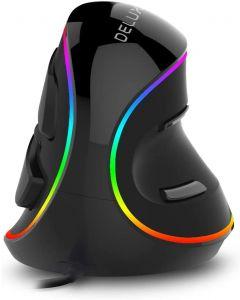Delux M618 PLUS Ergonomi vertikal gaming mus 6 knapper 4000 DPI RGB kablet / trådløs høyre hånd mus for PC bærbar datamaskin