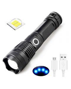 USB Oppladbar lommelykt XHP50 LED lys 5 moduser 26650/18650 zoomable lommelykt