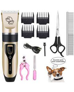 pet lading elektrisk clippers, pet elektrisk barbermaskin katt og hund elektrisk hår clipper, hund profesjonell skjønnhet trim sett kan lades