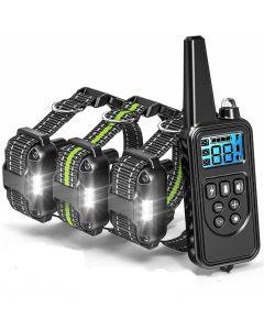 800m elektrisk hund trening krage med LCD-skjerm kjæledyr fjernkontroll vanntett oppladbare krager for støt vibrasjon lyd