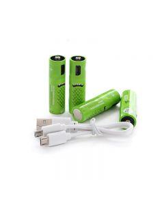 oppladbare AA-batterier 00mAh batteri med USB-porter høy kapasitet 1.2V NiMH lav selvutladbart batteri AA lading med USB-kabel (4 Pack USB-kabel)