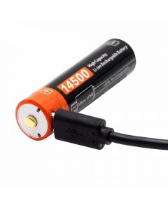 14500 750mAh 3.7 V micro USB oppladbart Li-ion batteri