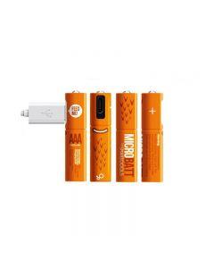 Oppladbart 1.2V 450mAh AAA Ni-MH USB-batteri for fjernkontroll mus hurtiglading av micro USB-kabel (4 Pack USB-kabel)