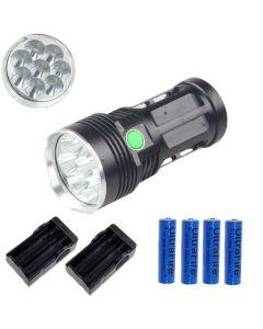 EternalFire kongen 8T6 8 * Cree XM-L T6 LED lommelykt 8000 lumen 3 moduser LED lommelykt Black-komplett sett