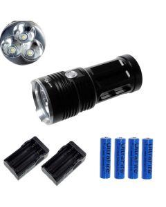 EternalFire kongen 3T6 3 * Cree XM-L T6 LED lommelykt 3000 lumen 3 moduser LED lommelykt Black-komplett sett