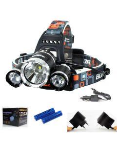 3T6 frontlys 3000 lumen High Power LED frontlys Boruit 3xCREE XM-L T6 4 modus hodelykt komplett sett