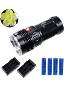 EternalFire kongen 6T6 6 * Cree XM-L T6 LED lommelykt 6000 lumen 3 moduser LED lommelykt Black-komplett sett