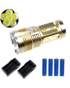EternalFire kongen 6T6 6 * Cree XM-L T6 LED lommelykt 6000 lumen 3 moduser LED lommelykt Glod-komplett sett