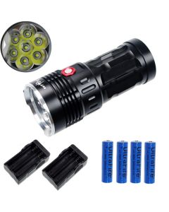 EternalFire kongen 7T6 7 * Cree XM-L T6 LED lommelykt 7000 lumen 3 moduser LED lommelykt Black-komplett sett