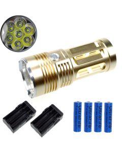 EternalFire kongen 7T6 7 * Cree XM-L T6 LED lommelykt 7000 lumen 3 moduser LED lommelykt Glod-komplett sett
