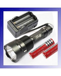 Lyktene C12 CREE XM-L T6 1300 lumen 5 modus LED lommelykt + 2 * 18650 batteri + lader